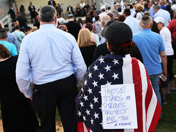 People attend a rally denouncing antisemitic violence on May 27 in Cedarhurst, New York. Following a surge in antisemitic hate crimes triggered by last month's Israel-Gaza conflict, some Jews are wondering why the condemnation hasn't been stronger.