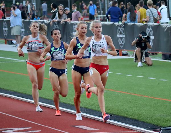 Karissa Schweizer, in white top, is a Bowerman Track Club recruit from the Midwest. She carries high expectations to nab an Olympic team slot in the 5000 meters.