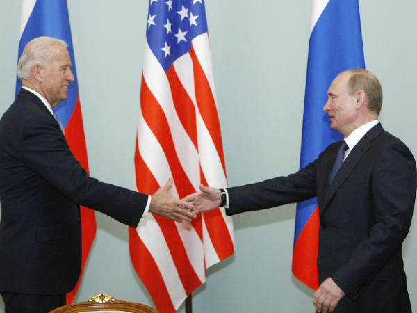 Joe Biden and Vladimir Putin, seen here in 2011 when the U.S. president was vice president and his Russian counterpart was prime minister, are scheduled to meet June 16 in Geneva.