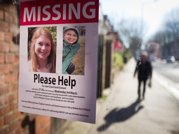 Posters seeking information about Sarah Everard appear near Clapham Common in London in March after her disappearance. Her body was later found in Kent in southeast England. Wayne Couzens, a London Metropolitan Police officer, has admitted to kidnapping and raping Everard.