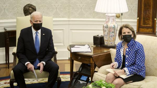 President Biden, with Sen. Shelley Moore Capito of West Virginia on May 13 in the Oval Office, has ended talks with a Republican group she led on infrastructure.