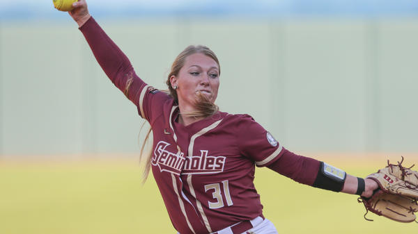 Florida State pitcher Danielle Watson (31) during an NCAA softball game against Florida on Friday, March 5, 2021 in Gainesville, Fla. (AP Photo/Gary McCullough)