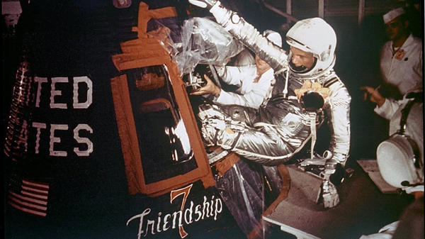 Astronaut John Glenn Jr. is loaded into the Friendship 7 capsule on Feb. 20, 1962.