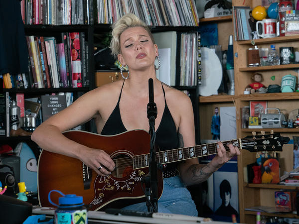 Betty Who performs a Tiny Desk Concert on May 29, 2019 (Shuran Huang/NPR).
