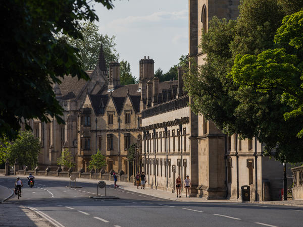 The decision by students at Magdalen College, part of Oxford University, to remove a portrait of Queen Elizabeth II has touched off anger in the United Kingdom. The college is seen here in May 2020.