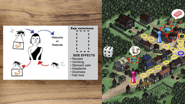 Students around the world were challenged to fight disease rumors in a 24-hour hackathon. From left: A proposed pill package featuring a Tanzanian comic character, designed by a team from Boston University. A board game to help teach kids about schistosomiasis created by students from Sharif University of Technology in Tehran, Iran, and the Complexity Science Hub in Vienna.