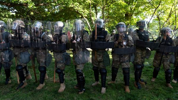 National Guard soldiers protect a park during protests near the White House on June 1, 2020.