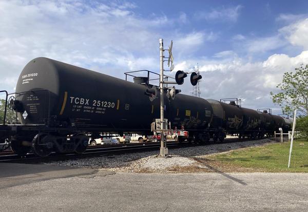 A freight train rolls through Bay St. Louis. April 27, 2021.