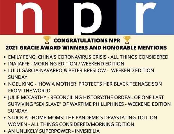 This is the fourteenth year in a row that NPR reporting has received Gracie awards.