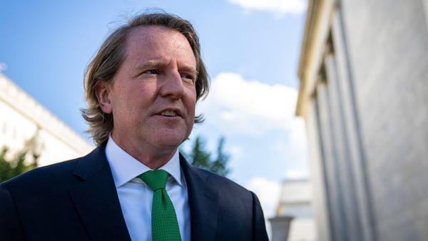 Former White House counsel Don McGahn leaves Capitol Hill after a closed-door meeting June 4 with the House Judiciary Committee. The committee first subpoenaed McGahn, a witness in special counsel Robert Mueller's investigation, two years ago, but the Trump White House blocked him from appearing.