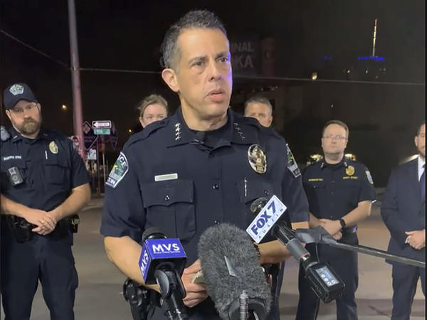 Interim Police Chief Joseph Chacon updates reporters on the attack in Austin, Texas, early Saturday.