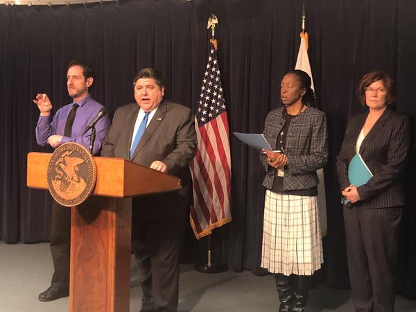 Gov. JB Pritzker speaks to reporters in Chicago on March 11, 2020 — the day the World Health Organization declared COVID-19 a global pandemic. At the press conference, the governor warned the federal government hadn't given Illinois nearly enough COVID tests. Pritzker was joined by Illinois Department of Public Health Director Ngozi Ezike and Illinois Emergency Management Agency Director Brigadier Gen. Alicia Tate-Nadeau, who each brief media on COVID preparedness.