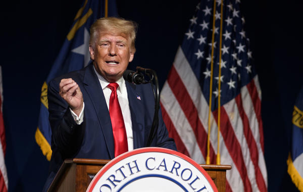 Former President Donald Trump addresses the North Carolina Republican Party's annual state convention on June 5.