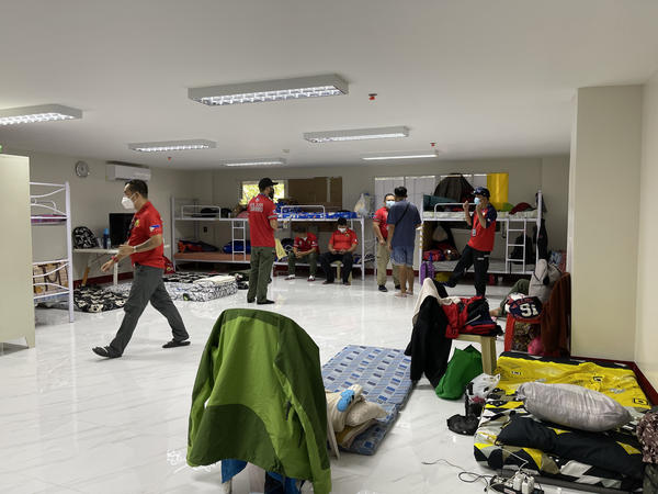 """This room is where members of the San Juan Early Response Network eat, sleep and hang out while waiting to respond to emergency calls. Nicknamed """"the barracks"""" by the staffers, the dorm includes bunk beds and a television."""