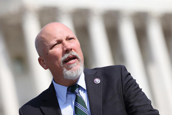 Texas Rep. Chip Roy, seen here at a press conference on May 20, was one of 14 House Republicans who voted against making June 19 a federal holiday.
