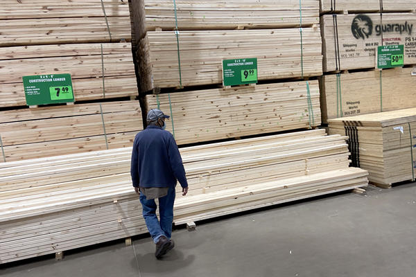 Stacks of lumber are offered for sale at a home center in April in Chicago.
