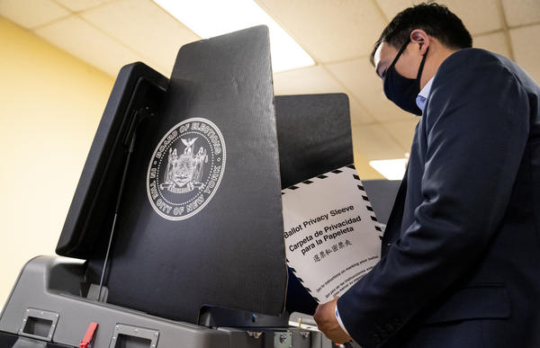 New York City Democratic mayoral candidate Andrew Yang prepares to cast his ballot at an early voting site last week. The election provides America's biggest-yet test for ranked-choice voting.