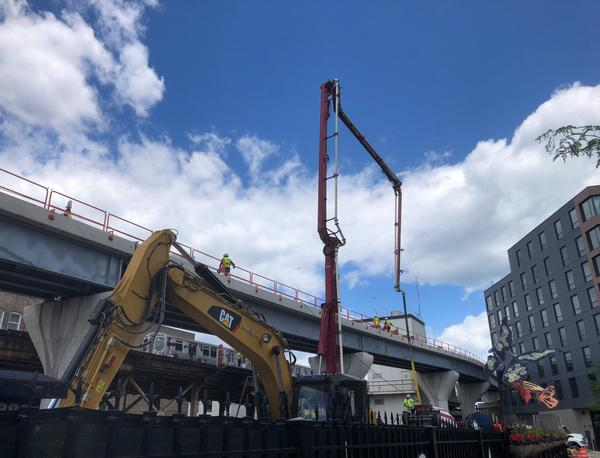 Construction underway on the Chicago Transit Authority's Belmont Flyover project.