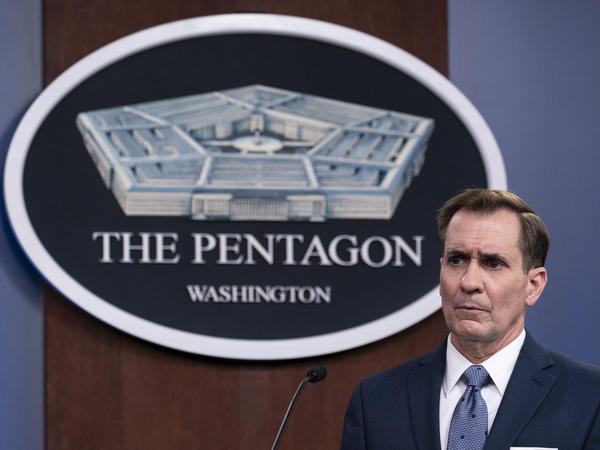 """Pentagon spokesman John Kirby, pictured in February at the Pentagon, says Sunday's airstrikes selected three targets in Syria and Iraq that were weapons storage and operational facilities and that """"President Biden has been clear that he will act to protect U.S. personnel."""""""