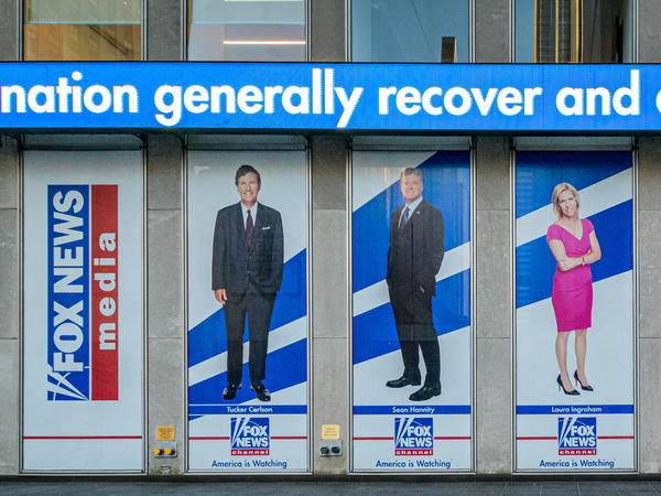 Outside the Fox News headquarters building in New York City.