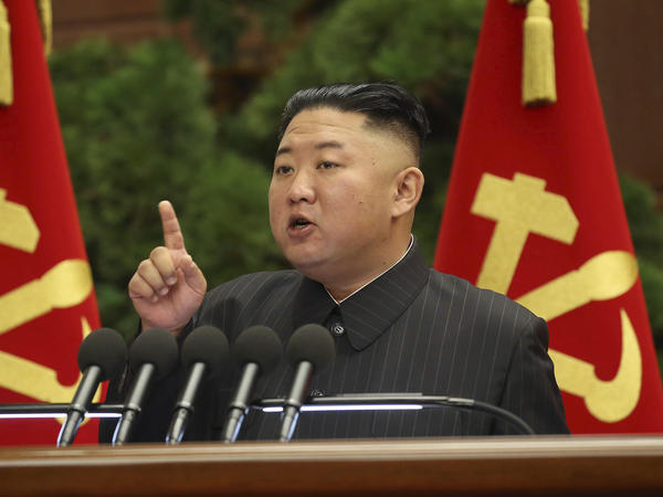 North Korean leader Kim Jong Un speaks Tuesday during a Politburo meeting of the ruling Workers' Party in Pyongyang.