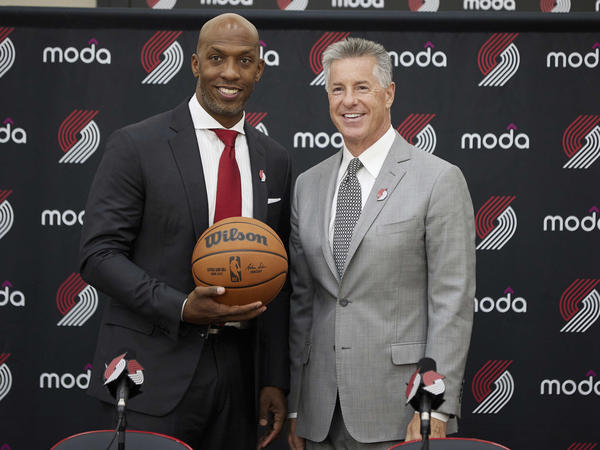 Chauncey Billups, left, poses with Portland General Manager Neil Olshey after Billups was announced as the head coach of the Portland Trail Blazers at the team's practice facility on June 29, 2021.
