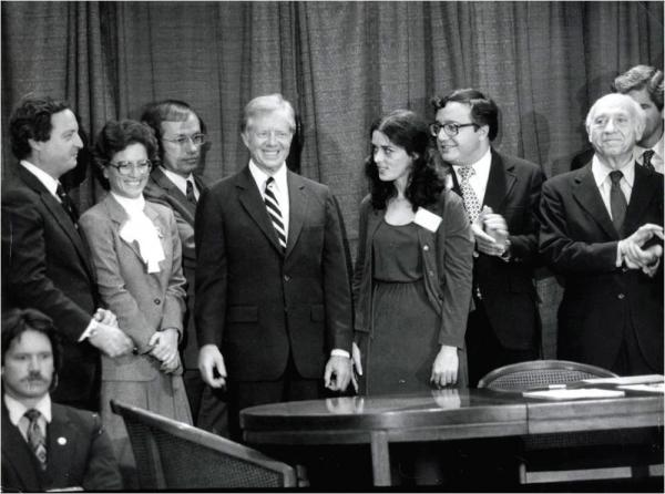 """Superfund legislation is created with the """"Mother of Superfund"""" Lois Gibbs by the side of President Jimmy Carter."""