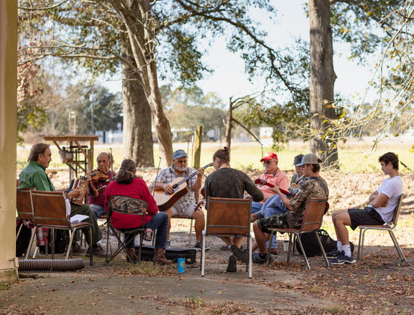 Musicians gather for a Saturday morning jam session at the Savoy Music Center in Eunice, La.