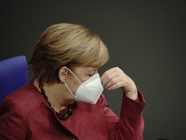 """Chancellor Angela Merkel, seen here on Oct. 29, told Germans this week, """"We're in for a tough winter."""" New cases of the coronavirus have been hovering at about 20,000 per day recently."""