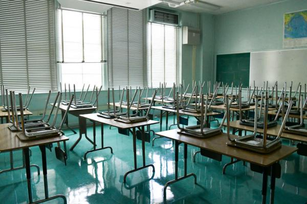 An empty classroom is seen at Hollywood High School on August 13, 2020 in Hollywood, California. (Rodin Eckenroth/Getty Images)