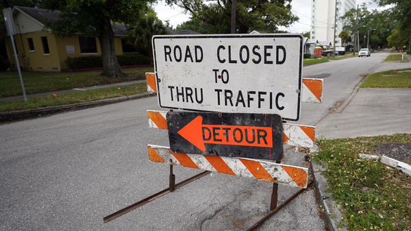 A city street is closed this month for repairs and upgrades in Orlando, Fla. As part of an infrastructure proposal by the Biden administration, $115 billion is earmarked to modernize bridges, highways and roads.