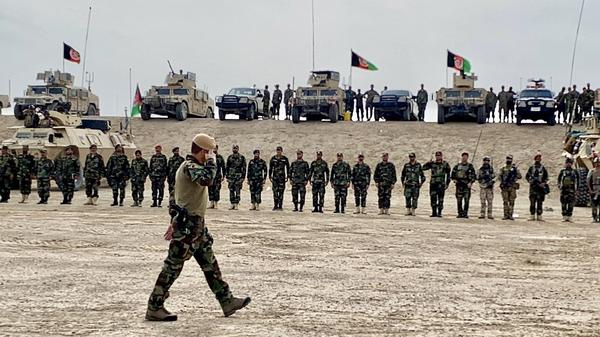 """Gen. Sami Sadat salutes Afghani troops in April 2021. <em>""""</em>The Afghan military is one of the more advanced militaries that learned from the best, from the U.S. forces,"""" he tells NPR's <em>All Things Considered</em>. """"To be honest, for the past one year, the Afghan forces have held their ground pretty good, I'd say."""""""