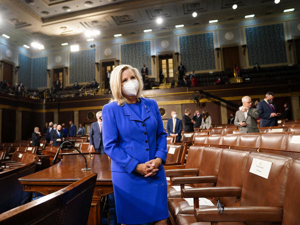 The political future of Rep. Liz Cheney, seen here on April 28 ahead of President Biden's joint address to Congress, is increasingly in doubt as the Wyoming Republican refuses to back down from criticism of former President Donald Trump.