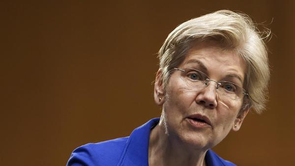 Sen. Elizabeth Warren speaks during a Senate Finance Committee hearing in Washington on Feb. 24. Warren's latest book is called <em>Persist</em>.