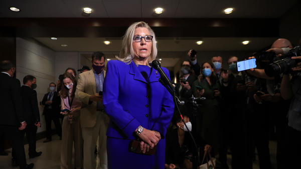 Wyoming Rep. Liz Cheney talks to reporters after House Republicans voted to remove her as conference chair Wednesday.