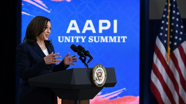 Vice President Harris addresses the Asian Pacific American Heritage Month Unity Summit on Wednesday.