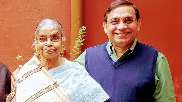 Manas Ray and his mother in 2019, the last time he was in India.