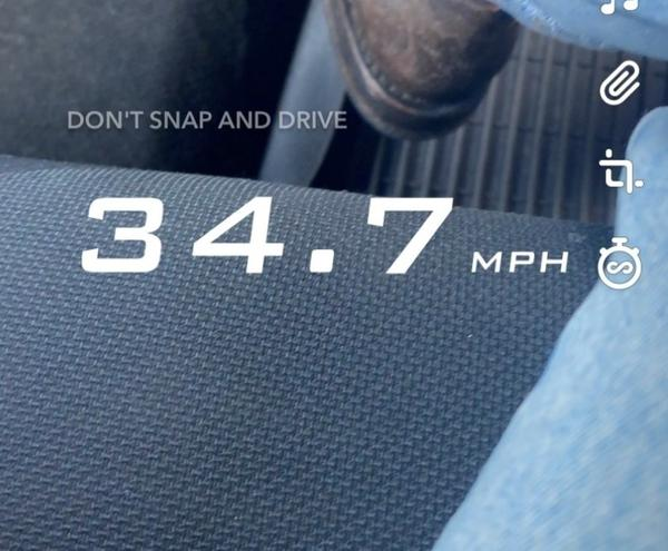 An iPhone screengrab of Snapchat's speed filter, which allows users to record and share how fast they are moving. Snap told NPR that it is eliminating the tool.