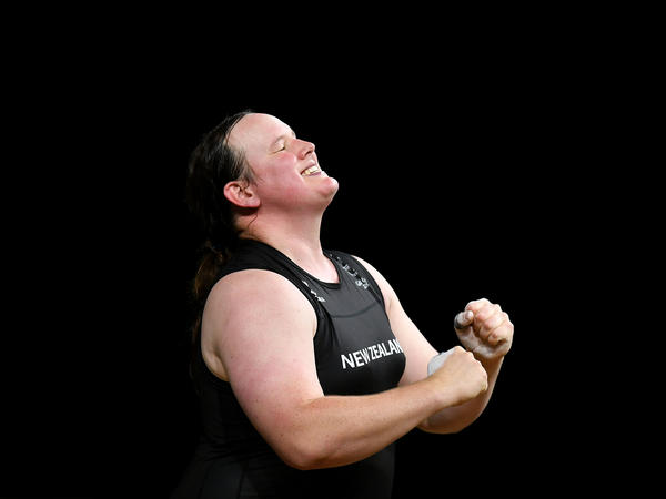New Zealand weightlifter Laurel Hubbard celebrates completing a lift at the 2018 Commonwealth Games in Australia. Hubbard has been named to New Zealand's team at the Tokyo Olympics, making her the first openly transgender competitor at the Olympics.