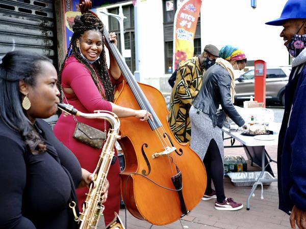 Saxophonist Camille Thurman and bassist Endea Owens play at a Community Cookout in Jamaica, Queens on Sunday May 9, 2021