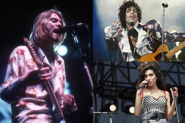 Kurt Cobain of Nirvana by Michael Ochs Archives, Prince by Michael Ochs Archives, Amy Winehouse by Roger Kisby