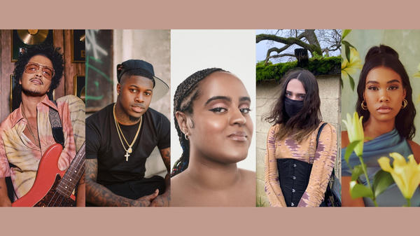 Musicians who made some of NPR Music's favorite songs of 2021 (so far) include (left to right) Silk Sonic, Cico P, Seinabo Sey, Petal Supply and Amber Mark.
