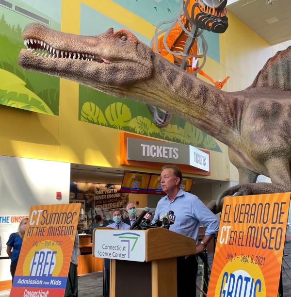 Gov. Ned Lamont spoke at the Connecticut Science Center to promote free museum admissions for kids, then outlined his new eviction order to reporters. He departed Wednesday night for a brief family vacation.