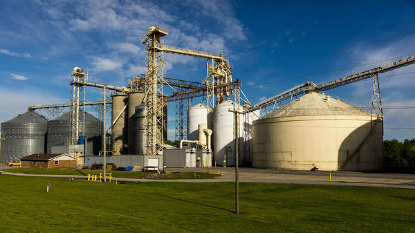 Grain silos sit along the Mississippi River in southern Louisiana. The company Greenfield Louisiana plans on installing 54 silos and a conveyor structure almost as tall as the Statue of Liberty.