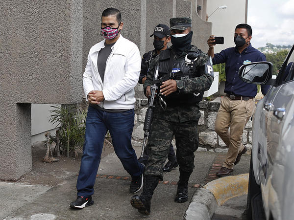 Roberto David Castillo is escorted by penitentiary police to hear the verdict in his trial connected to accusations that he is one of the intellectual authors responsible for the murder of environmentalist and Indigenous rights activist Berta Caceres, in Tegucigalpa, Honduras, July 5, 2021.