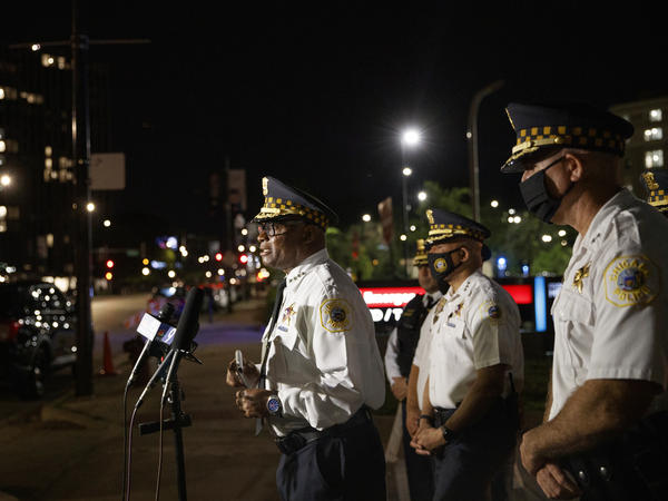 Chicago police Superintendent David Brown talks with members of the press outside Stroger Hospital, where two officers were brought after being shot during the Fourth of July holiday weekend.
