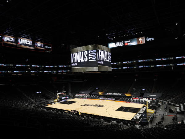 A view of the Phoenix Suns Arena before the game between the Milwaukee Bucks and the Phoenix Suns during Game One of the 2021 NBA Finals on July 6, 2021 at Phoenix Suns Arena.