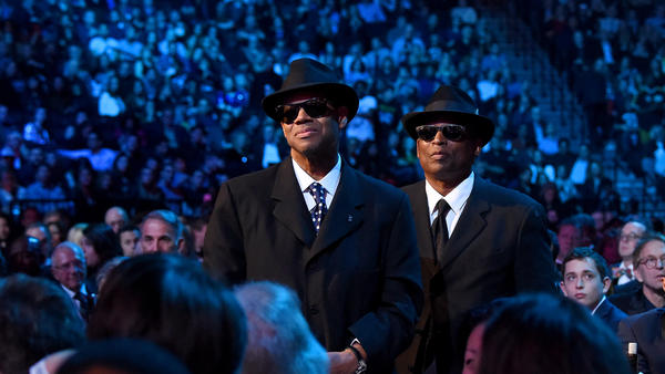 Jimmy Jam, left, and Terry Lewis stand after being acknowledged by inductee Janet Jackson during the 2019 Rock & Roll Hall of Fame Induction Ceremony, held at the Barclays Center on March 29, 2019 in New York.
