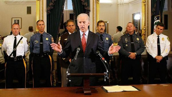 President Biden, pictured as a senator introducing anti-crime legislation in 2007, is trying to maintain his long-standing relationships with law enforcement as he pushes for changes to policing.