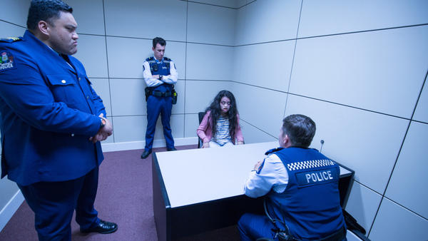Sgt. Makka (Maaka Pohatu), from left, Officer Minogue (Mike Minogue), Bazu'aal of the Unholy Realm (Erika Camacho) and Officer O'Leary (Karen O'Leary) in <em>Wellington Paranormal.</em>